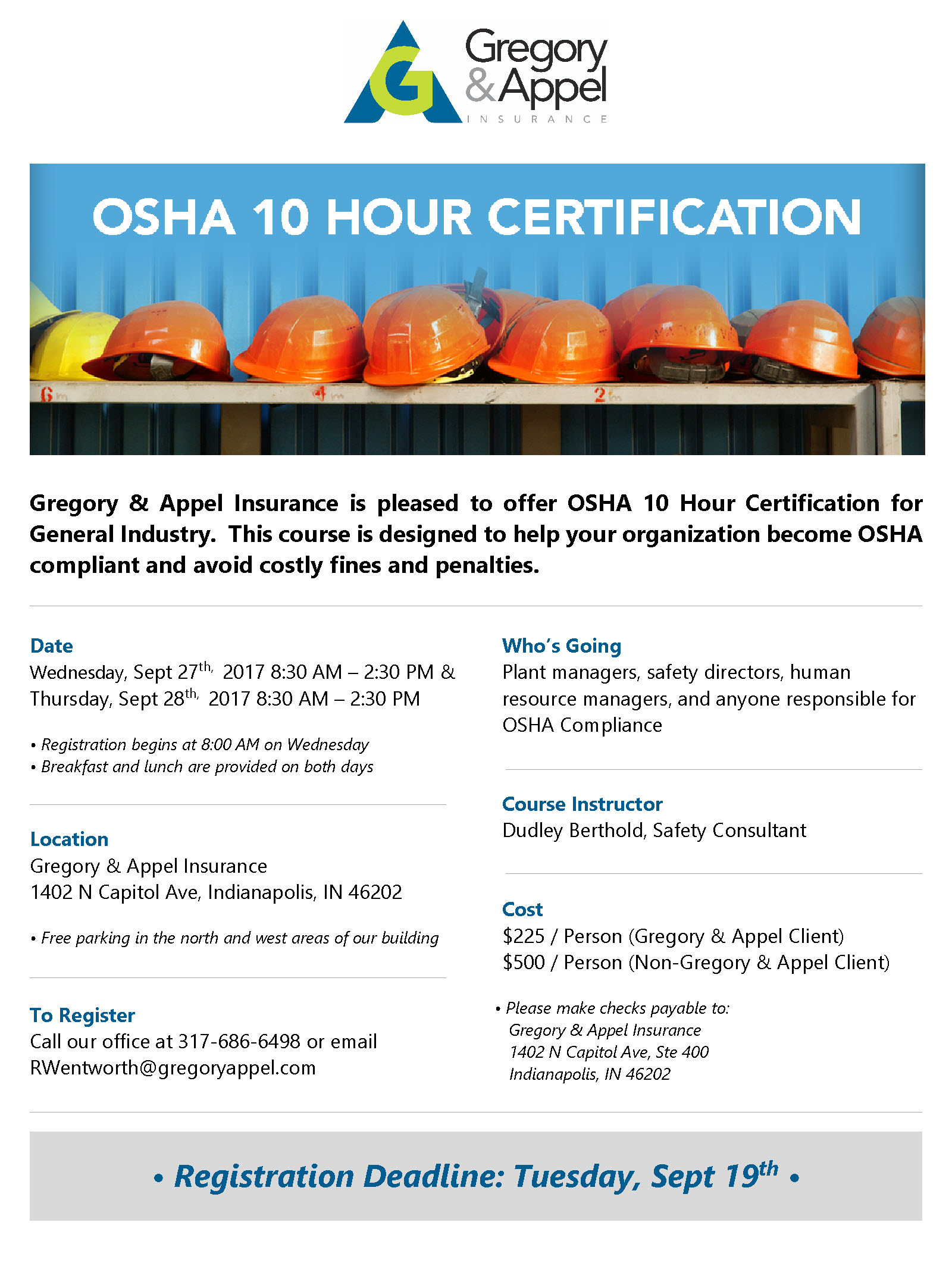Osha Update 10 Hour Certification Gregory Appel Insurance